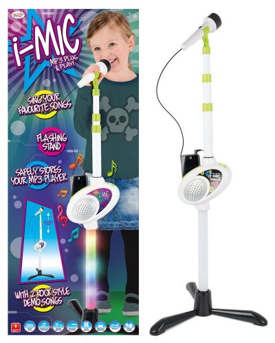 Kids Girls Boys Karaoke i-Mic Microphone Mp3 Music play adjustable Stand Light